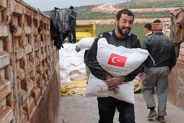 Turkey supplies humanitarian aid to Syrian border
