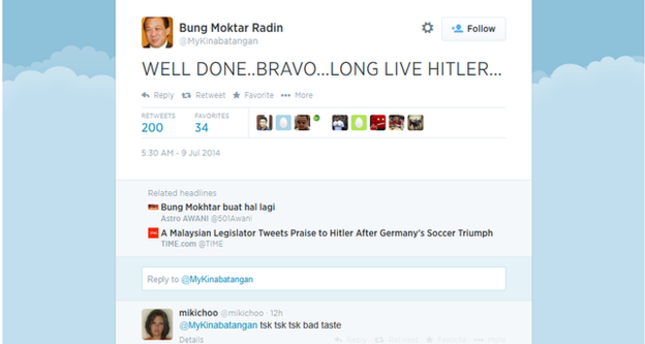 Malaysian MP Praise Hitler after Germany's win