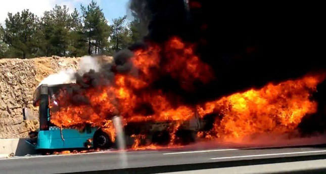 Bus bursts into flames after crash, kills four on Istanbul highway