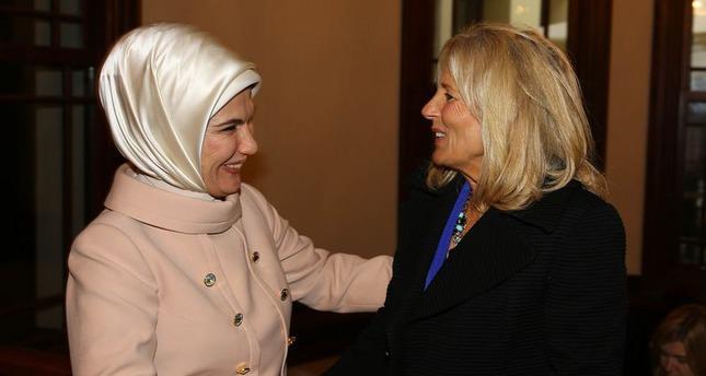 Jill Biden meets with president's wife Emine Erdoğan in Istanbul