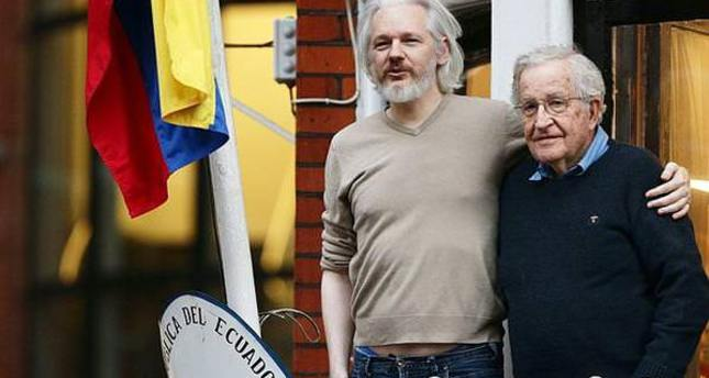WikiLeaks founder makes a public appearance with Chomsky in London