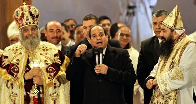 El-Sissi, calling for religious revolution, visits Coptic Church