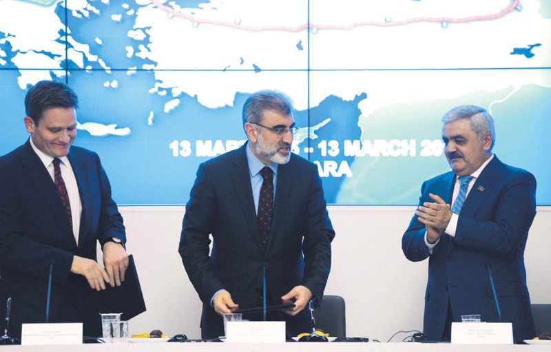 Regional chairman of BP Birell (L), Energy Minister Yu0131ldu0131z (middle), Chairman of the Board of SOCAR Abdullayev (R) and attended the partnerhip agreement signing ceremony at the ministry in Ankara on Friday.