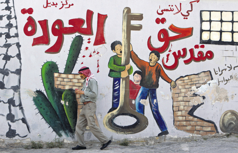 ,We must never forget. The return is a sacred right,, reads a mural on a wall in Jenin Refugee Camp.