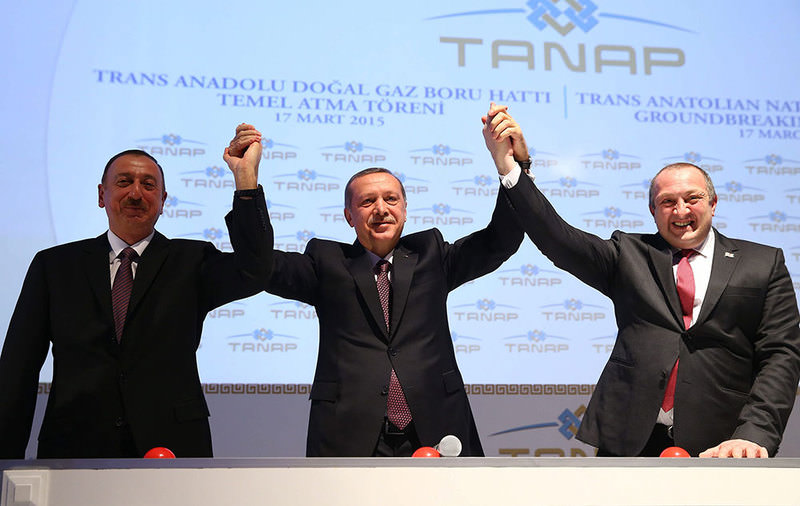 Azerbaijan Ilham Aliyev (left), Turkish President Recep Tayyip Erdogan (center), and Georgian President Giorgi Margvelashvili (right) during the launch ceremony for TANAP project in Kars, Turkey  Photo: EPA