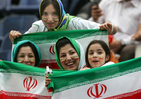 Iranian women waving national flags at the World Cup stadium in Germany in 2006  AP Photo