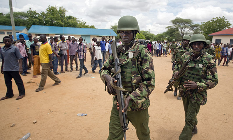 Kenya Defence Forces (KDF) soldiers arrive at a hospital to escort the bodies of the attackers to be put on public view, in Garissa, Kenya (AP  Photo)