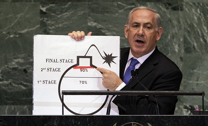 PM Benjamin Netanyahu of Israel shows an illustration as he describes his concerns over Iran's nuclear ambitions during his address to the 67th session of the United Nations General Assembly AP Photo