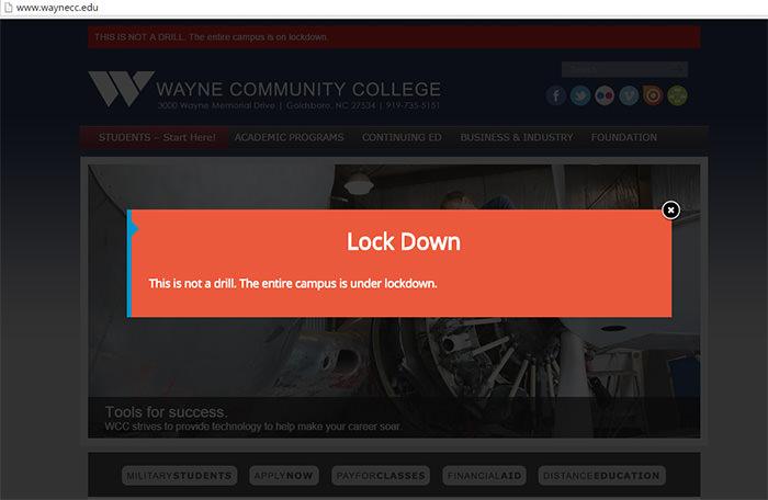 A screenshot from Wayne Community College's website
