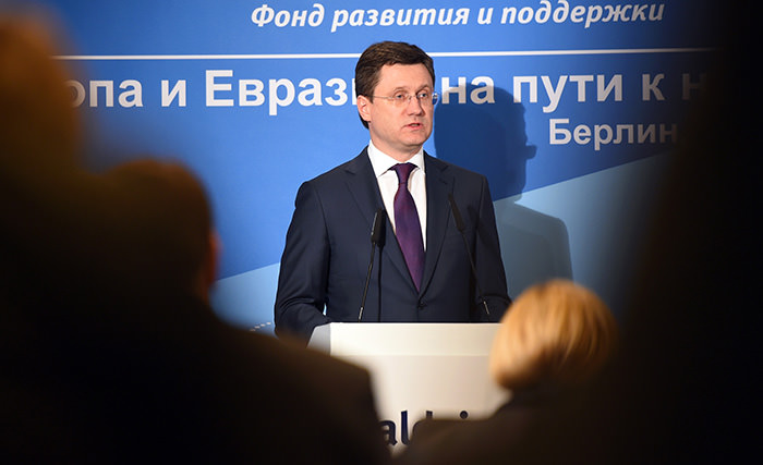 Alexander Novak, Russian Energy Minister, delivers a speech during the Valdai International Discussion Club in Berlin (AFP Photo)