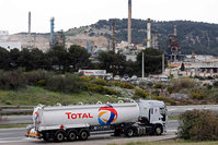 An oil tanker bearing Total logo near La Mede refinery in Marseille, southern France (Reuters Photo)
