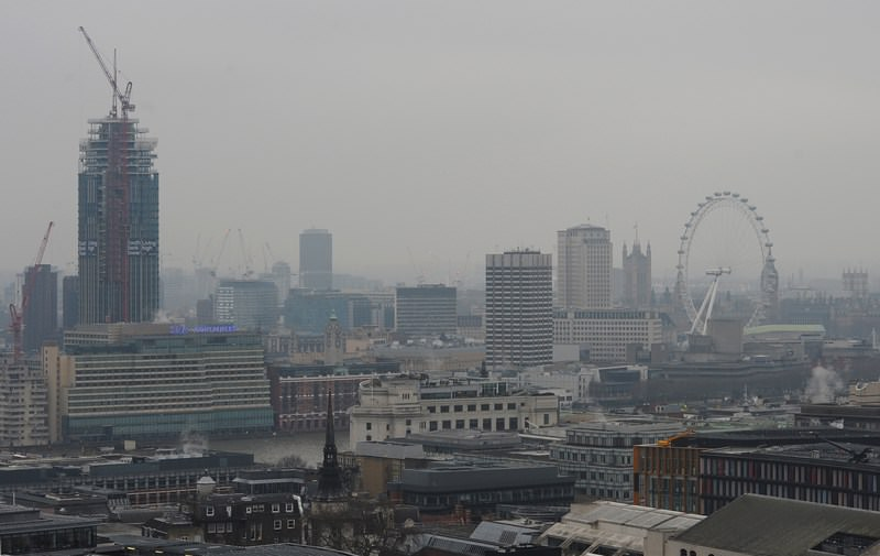 A toxic air pollution cloud blew over Britain on Thursday causing potential health problems for vulnerable people as the country struggles to meet its clean air targets (AFP Photo)