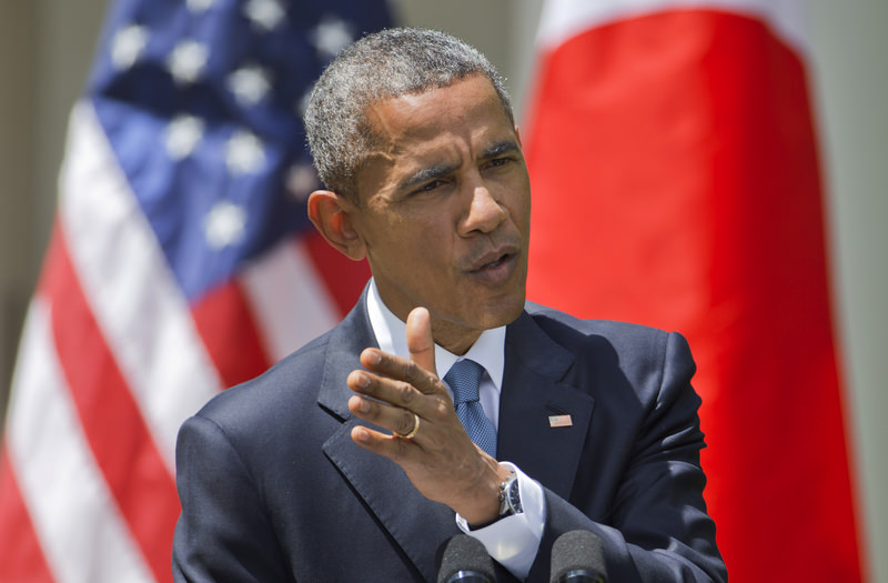 President Barack Obama speaks about recent unrest in Baltimore during a joint news conference with Japanese Prime Minister Shinzo Abe, Tuesday, April 28, 2015, in White House in Washington (AP Photo)