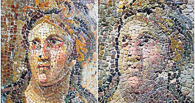 Hatay Archaeological Museum is home to a large mosaic collection. However, as these photos by mosaic craftsman Mehmet Dau015fkapan show, the restoration of the mosaics dramatically distorted the original state of the artifacts.