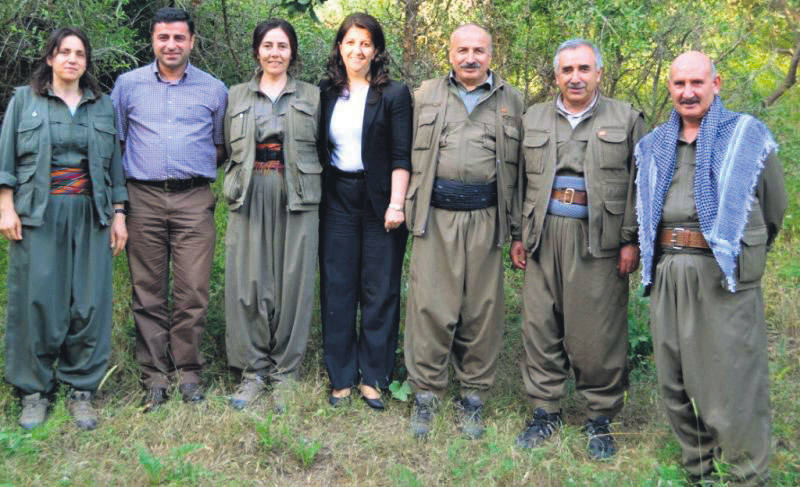 Senior PKK members and pro-Kurdish HDP co-chairpersons in Qandil Mount.