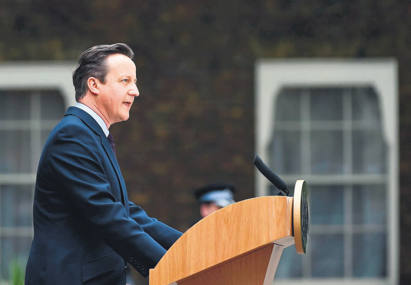 Britain's prime minister and leader of the Conservative Party, David Cameron, addresses the nation outside 10 Downing Street in London on May 8.