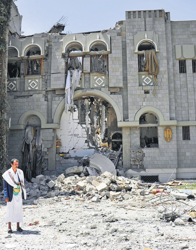 Yemenis suffer from the destruction of hundreds of buildings in the capital, Sanaa, after Saudi-led coalition strikes.
