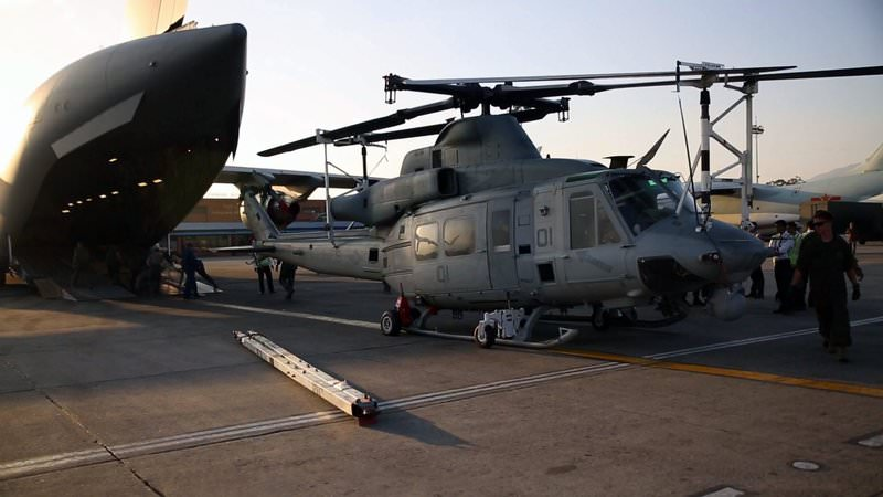 A handout file picture dated 03 May 2015 and provided by the US Marine Expeditionary Force shows US Marines unloading a UH-1Y Huey helicopter from a Boeing C-17 Globemaster III at Tribhuvan International Airport in Kathmandu, Nepal (EPA Photo)