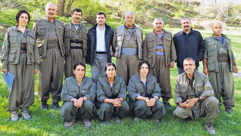 Fiie photo of a HDP delegation visit to senior KCK members at the organization's hideout in northern Iraq.