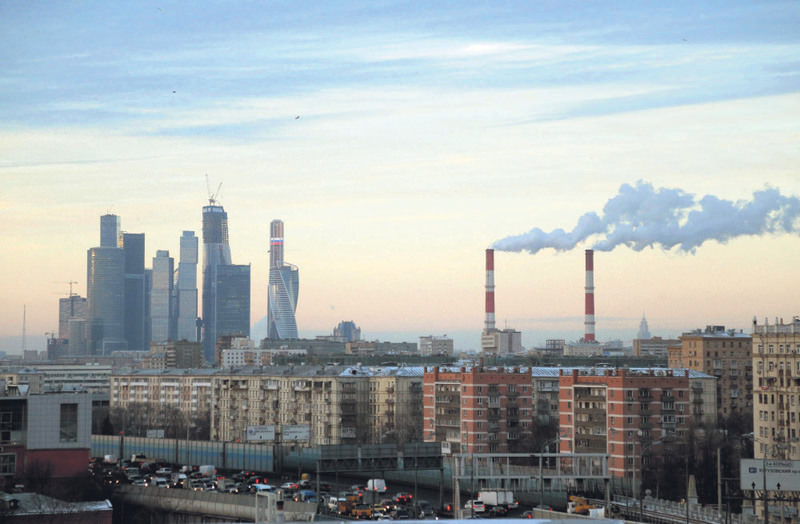 A view of the Moscow international business center with some under-construction skyscrapers. Russian economy gains strength after suffering from western sanctions and falling oil prices.