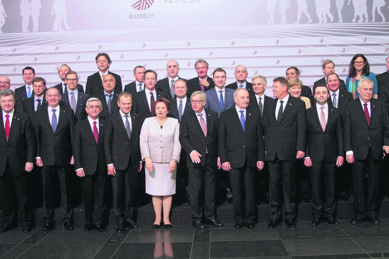 The EU bloc together with six ex-Soviet countries leaders pose before the summit started in Latvia.