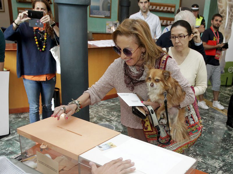 A woman with a dog in her arms casts her ballot during Spanish regional and local elections in Valencia, Spain, May 24, 2015.(Reuters Photo)
