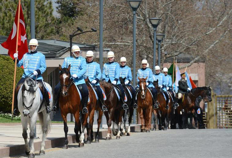 Ceremonial mounted guards at Çankaya Palace during former President Gül's term