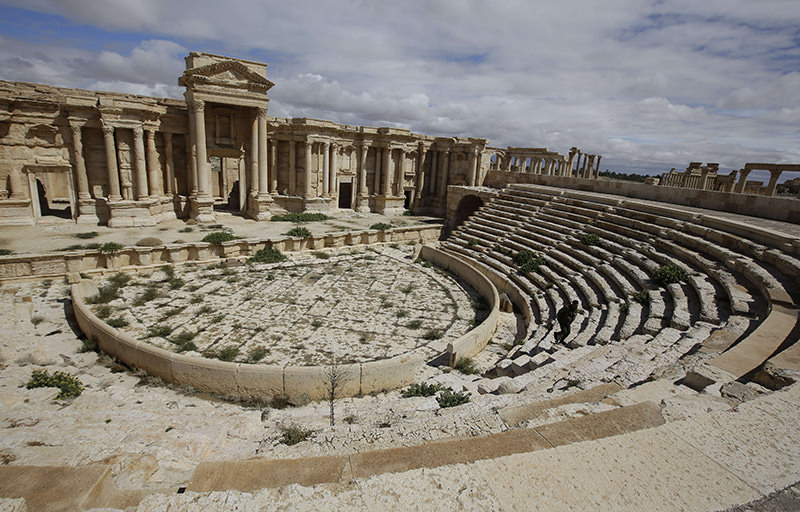 A file picture taken on March 14, 2014 shows a partial view of the theatre at the ancient oasis city of Palmyra, 215 kilometres northeast of Damascus (AFP Photo)
