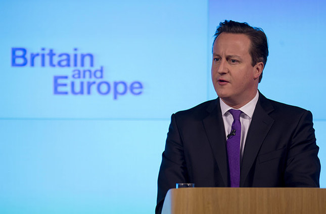Britain's Prime Minister David Cameron makes a speech on having a referendum on staying in the European Union in London, Wednesday, Jan. 23, 2013 (AP Photo)