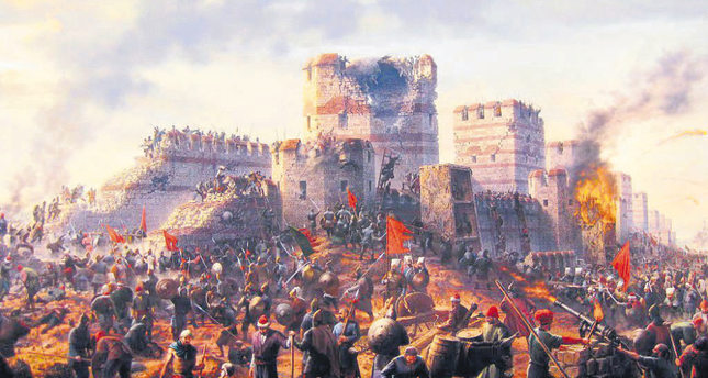 An illustration of the Ottoman armies marching toward the walls of Constantinople.