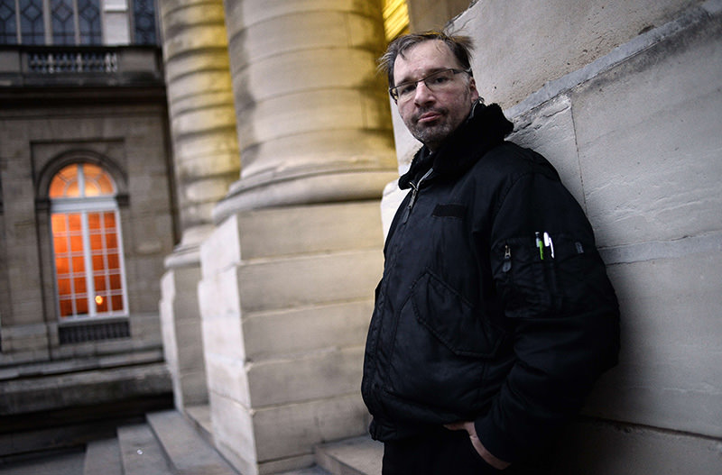 A file photo taken on January 29, 2015 shows Maxime Gaget posing at the Paris courthouse where he appeared for being beaten by his girlfriend (AFP Photo)