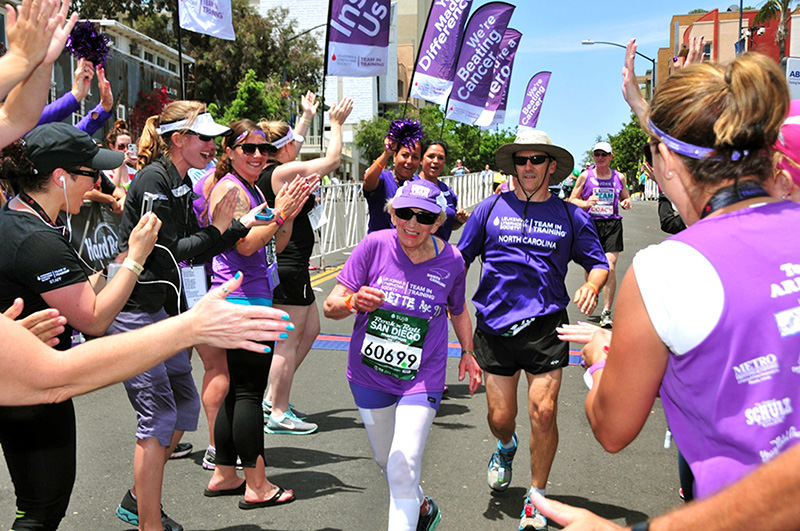 In this June 1, 2014 photo, Harriette Thompson, then 91, crosses the finish line in the 2014 Suja Rock u2018nu2019 Roll Marathon in San Diego (AP Photo)