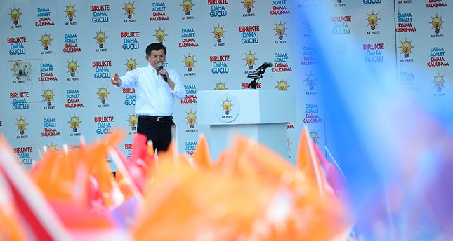 Ahmet Davutoğlu addresses crowds at AK Party's Kırıkkale meeting (AA Photo)