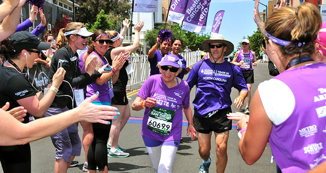 In this June 1, 2014 photo, Harriette Thompson, then 91, crosses the finish line in the 2014 Suja Rock 'n' Roll Marathon in San Diego (AP Photo)