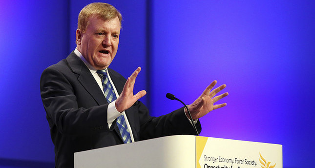 In this March 20, 2015 file photo former Liberal Democrat leader Charles Kennedy gestures as he speaks at a meeting (AP Photo)