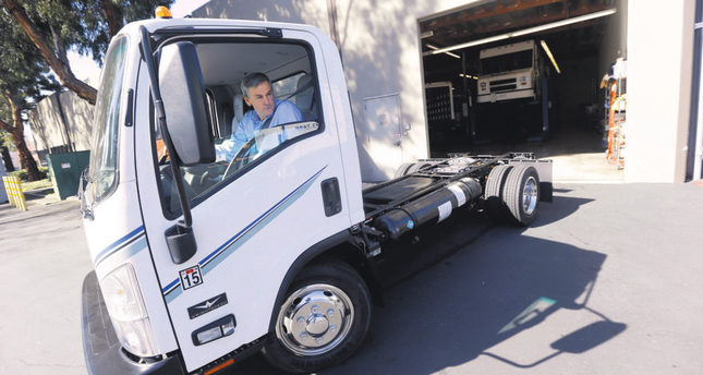Wrightspeed CEO Ian Wright drives an electric-powered truck at the company's headquarters in San Jose, California. Wright helped bring electric cars to the market when he co-founded Tesla Motors a decade ago. (AP Photo)