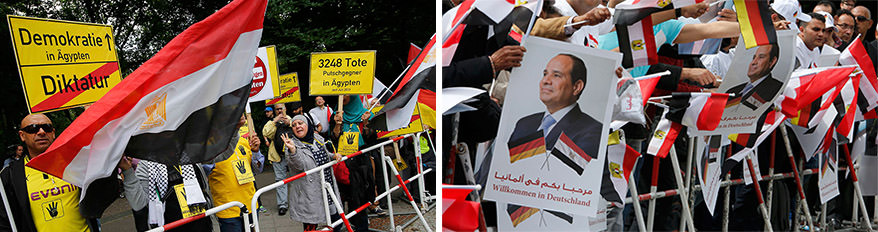 Anti (left) and pro (right) Sissi groups outside German Chancellery