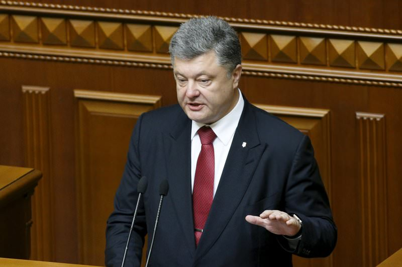 Ukrainian President Petro Poroshenko speaks during his annual state of the nation address to parliament in Kiev, June 4, 2015 (Reuters Photo)