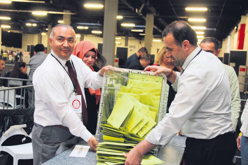 Photograph shows casted ballot papers at a polling station in the Netherlands.