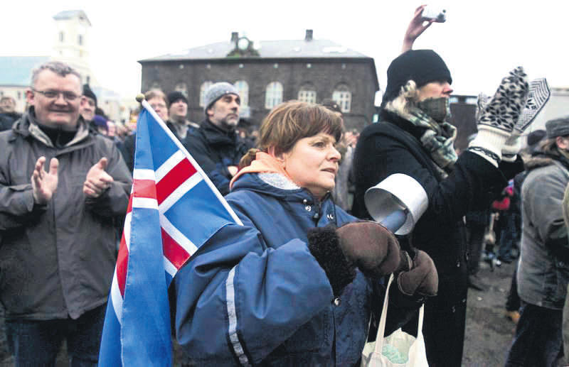 A peaceful protest near Iceland's Parliament house in Reykjavik Jan. 24, 2009. Iceland, one of the richest countries in the world in 2007, plunged into crisis when it fell victim to the global credit crunch.