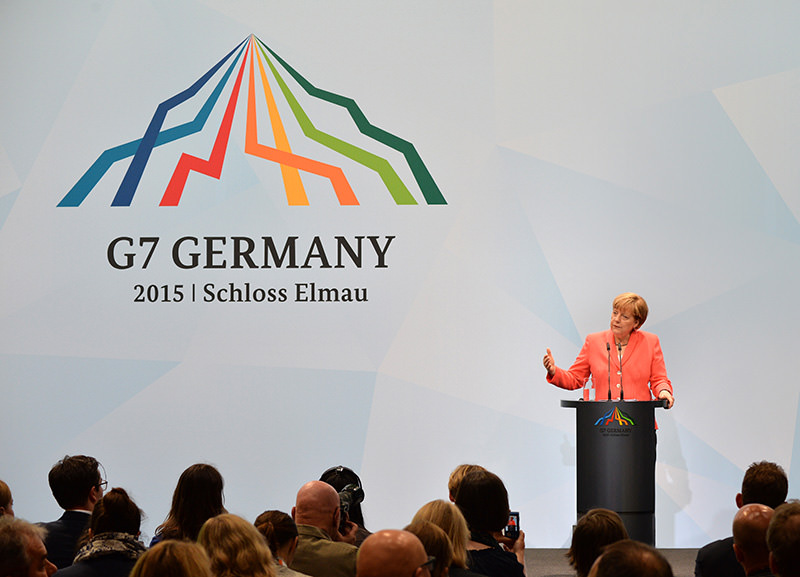 German Chancellor Angela Merkel delivers a press conference during the G7 summit at Elmau Castle in Elmau, Germany, 08 June 2015 (EPA Photo)