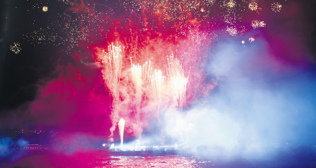 Fireworks decorated famous Bosphorus view during the opening ceremony.