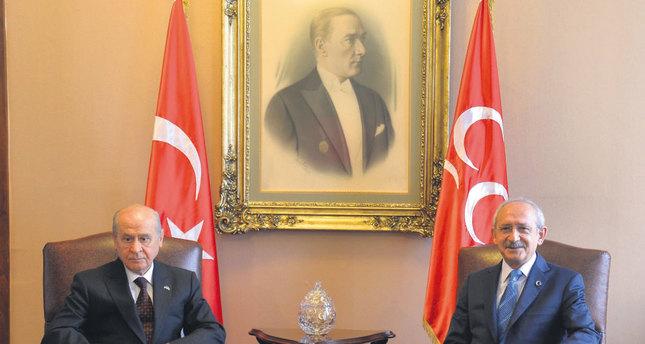 Nationalist Movement Party (MHP) leader Devlet Bahçeli (L) and Republican People's Party (CHP) leader Kemal Kılıçdaroğlu