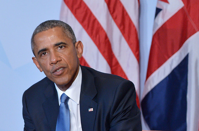 US President Barack Obama speaks during bilateral meeting with Britain's Prime Minister on the sidelines of the G7 Summit at the Schloss Elmau castle resort near Garmisch-Partenkirchen, in southern Germany on June 7, 2015. (AFP Photo)