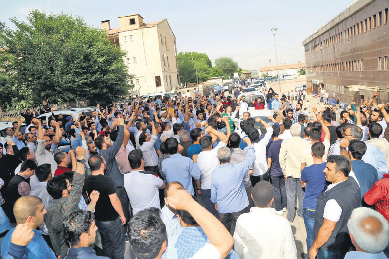 An angry crowd condemning the killing of Aytau00e7 Baran gathered outside the morgue where his body was kept.