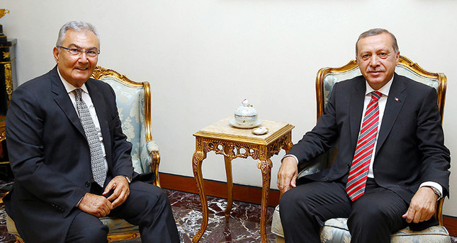 Former CHP Chairman Deniz Baykal (L) with President Erdoğan (R) in Ankara on June 10, 2015 (İHA Photo)