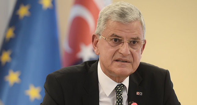 Minister of EU Affairs and Chief Negotiator Volkan Bozkır speaking at a press conference on June 10, 2015 (AA Photo)