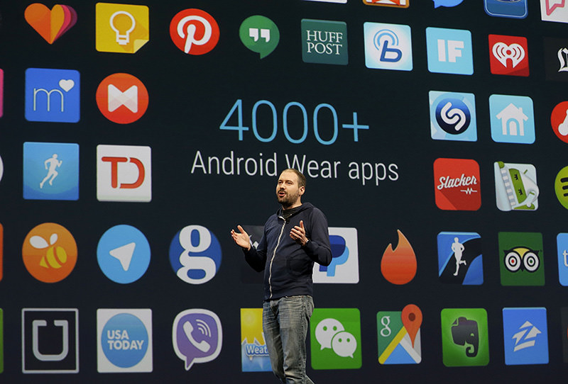 David Singleton, director at Android Wear, speaks during the Google I/O 2015 keynote presentation in San Francisco. With the upcoming M version of Android, you give permission as apps need it. (AP Photo)