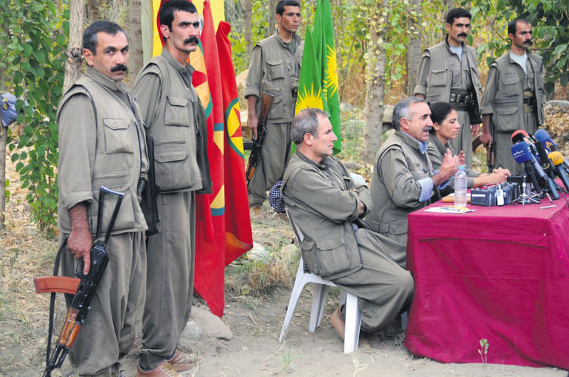 In this file photo, senior PKK figure Murat Karayu0131lan is seen giving a press conference at a PKK hideout in northern Iraq's Qandil Mountain.