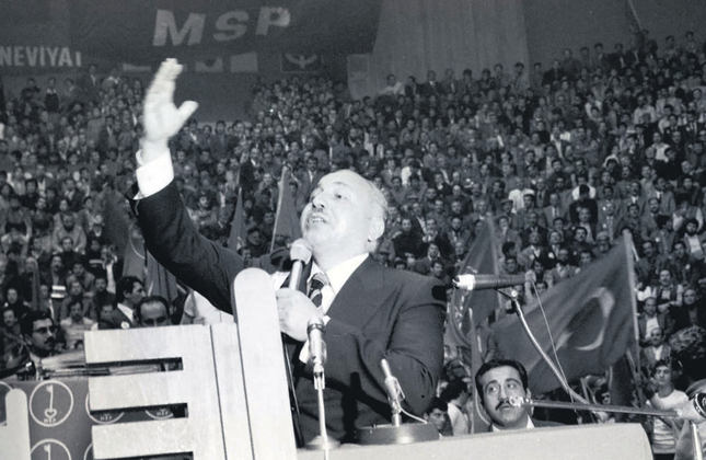 Erbakan during a National Salvation Party meeting in 1970's